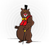Cheerful Cartoon Bear With The Hat Royalty Free Stock Photography