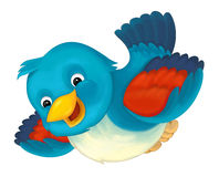 Cheerful cartoon blue bird. Happy and funny traditional illustration for children - scene for different usage Stock Image