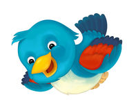 Cheerful cartoon blue bird. Happy and funny traditional illustration for children - scene for different usage Royalty Free Stock Image