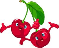 Cheerful Cartoon Cherries character Royalty Free Stock Images
