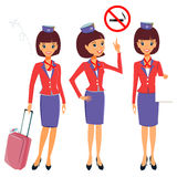 Cheerful cartoon flight attendant in uniform vector collection Stock Photos