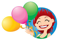 Cheerful cartoon girl with balloons Stock Photography