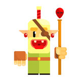 Cheerful cartoon gnome pirate. Fairy tale, fantastic, magical colorful character Stock Photography
