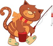 Cheerful cartoon kitten walking with a fishing rod stock illustration