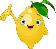 Cheerful Cartoon Lemon character Stock Image