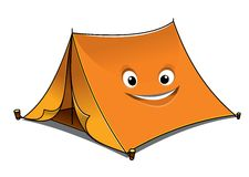 Cheerful cartoon orange tent Royalty Free Stock Photography