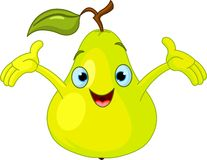 Cheerful Cartoon Pear character Royalty Free Stock Photography