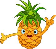 Cheerful Cartoon Pineapple character Royalty Free Stock Photos