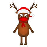 Cheerful cartoon reindeer on a white background, vector illustra Royalty Free Stock Image