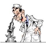 Cheerful cartoon scientist. Looking through a microscope Stock Photos