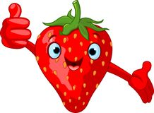 Cheerful Cartoon Strawberry character royalty free illustration