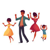 Cheerful cartoon style family jumping from happiness Royalty Free Stock Image