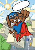 Cheerful cartoon super dog flying over city. Vector illustration of cheerful cartoon super dog flying over city. Easy-edit layered vector EPS10 file scalable to Stock Photos