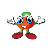 Cheerful cartoon tomato. Raising her hands Royalty Free Stock Images
