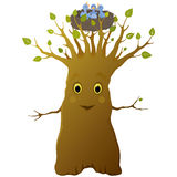 Cheerful cartoon tree Stock Photos