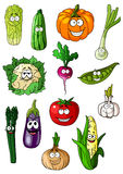 Cheerful cartoon various vegetables characters Stock Photo