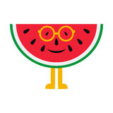 Cheerful cartoon watermelon in glasses on a white background Royalty Free Stock Photography