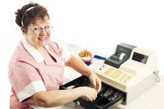 Cheerful Cashier Royalty Free Stock Photos
