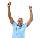 Cheerful Casual African Man Celebrating Royalty Free Stock Images