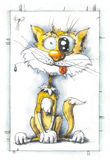The cheerful cat. Drawing character of a cheerful cat, water color, paper, ink and feather vector illustration