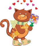 Cheerful cat carrying flowers in the shape of a heart stock illustration
