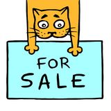 Cheerful cat holds its front paws for sale. Vector illustration Royalty Free Stock Photos