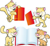 Cheerful cat playing and learning with red book - vector Stock Photography