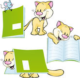 Cheerful cat playing and learning with workbook - vector Stock Photography