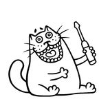 Cheerful cat shows a screwdriver. Vector illustration. royalty free stock images