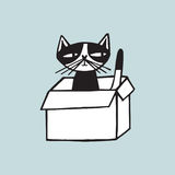 Cheerful cat sitting in carton box against light blue background. Doodle funny cartoon animal hand drawn in black and. White. Vector illustration in trendy Royalty Free Stock Image