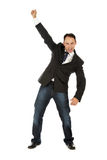 Cheerful caucasian businessman, winner. Cheerful caucasian businessman, middle aged man winner who is celebrating his victory. Studio shot. White background Stock Photo