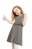 Cheerful Caucasian girl makes a hand gesture Royalty Free Stock Photos