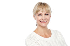 Cheerful caucasian lady posing in casuals Stock Photo