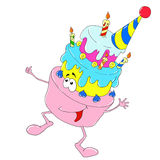 Cheerful character dessert. Birthday cake with candles. Vector isolated Stock Photo