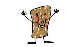 A happy wine cork. Cheerful character with face feet and hands of a wine cork, white background Royalty Free Stock Photo