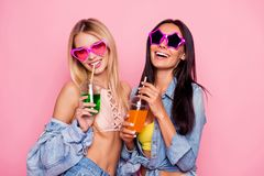 Cheerful, charming, positive, laughing, comic girls in summer he