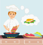 Cheerful chef cooks in the kitchen Stock Photos