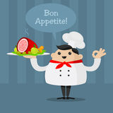 Cheerful chef holding a platter Royalty Free Stock Images