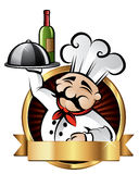 Cheerful Chef Illustration. Cheerful chef serving dinner at a restaurant - room for your text stock illustration