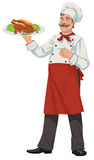 Cheerful chef - Illustration. An a vector illustration of cook  a roasted chicken Stock Image