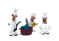 Cheerful chef made of clay Royalty Free Stock Photo