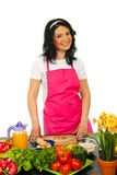 Cheerful chef woman Royalty Free Stock Images