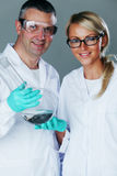 Cheerful chemistry researchers Royalty Free Stock Photography