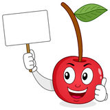 Cheerful Cherry Holding a Blank Banner Stock Photo