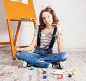 Cheerful child artist Stock Image
