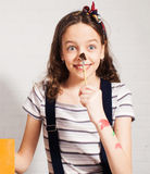 Cheerful child artist Stock Images