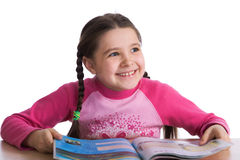 Cheerful child with book Stock Photography