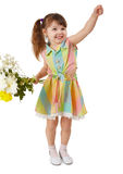 Cheerful child with bouquet of flowers Royalty Free Stock Images