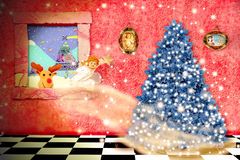 Cheerful child christmas magical scene Royalty Free Stock Photos