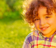 Cheerful child on summer field Royalty Free Stock Photos